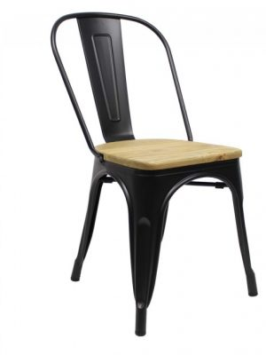 tolix_chair_black_wooden_seat_side_front